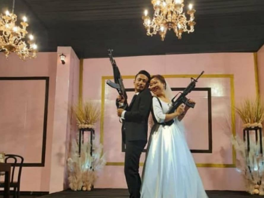 WATCH: Nagaland couple brandish assault rifles at wedding function