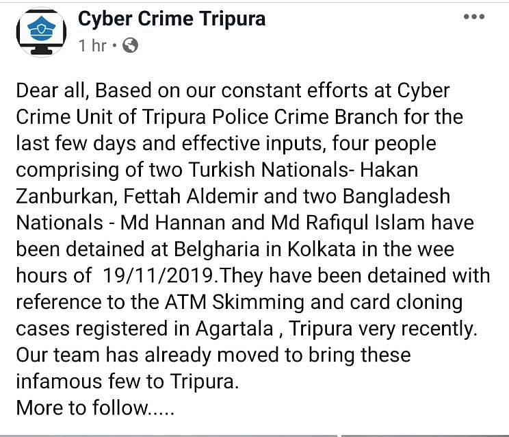 The Tripura cyber cell post informing about the detention of the four persons