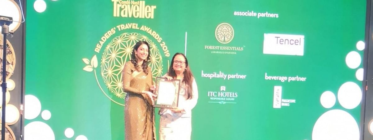 Meghalaya tourism officer Ava Shereen Sangma receiving the 'favourite emerging destination in India' award at the Readers' Travel Awards 2019 ceremony held in New Delhi recently