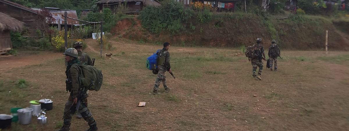 Troops of Assam Rifles getting ready for patrolling at Phungtha village in Manipur's Kamjong village