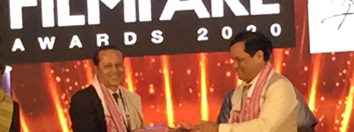 Assam chief minister Sarbananda Sonowal (right) with The Times Group MD Vineet Jain at a press conference held in November last year to announce the staging of 65th Filmfare Awards 2020 in Guwahati