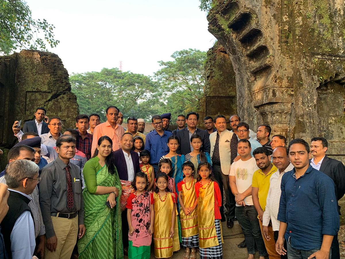 Meghalaya chief minister Conrad K Sangma with Bangladeshi officials at the remains of Jaintiapur in Bangladesh