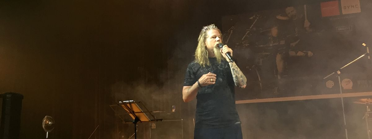 Chris Adler interacting with the audience at the central auditorium in University of Science and Technology, Meghalaya