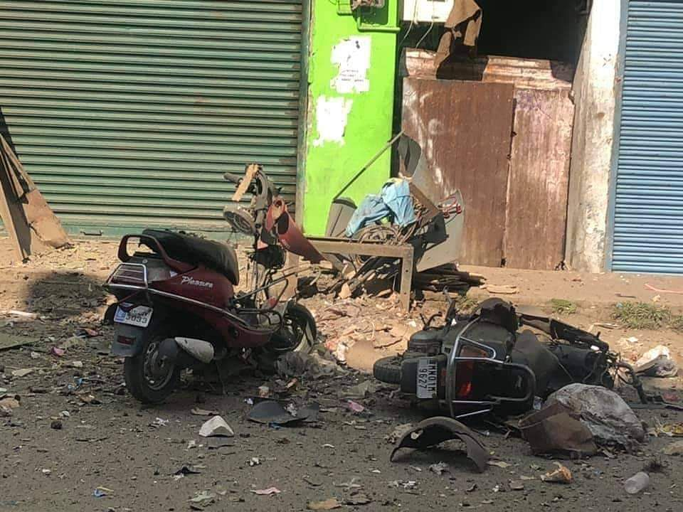 The blast site at Imphal in Manipur on Tuesday
