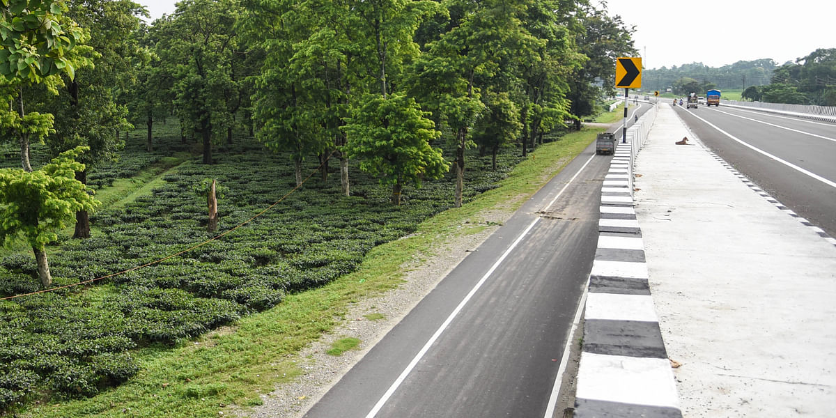 Asian Highway 2 that connects Panitanki near Siliguri on India-Nepal border and passes through traditional elephant corridor along Kiran Chandra Tea Garden near Bagdogra in West Bengal