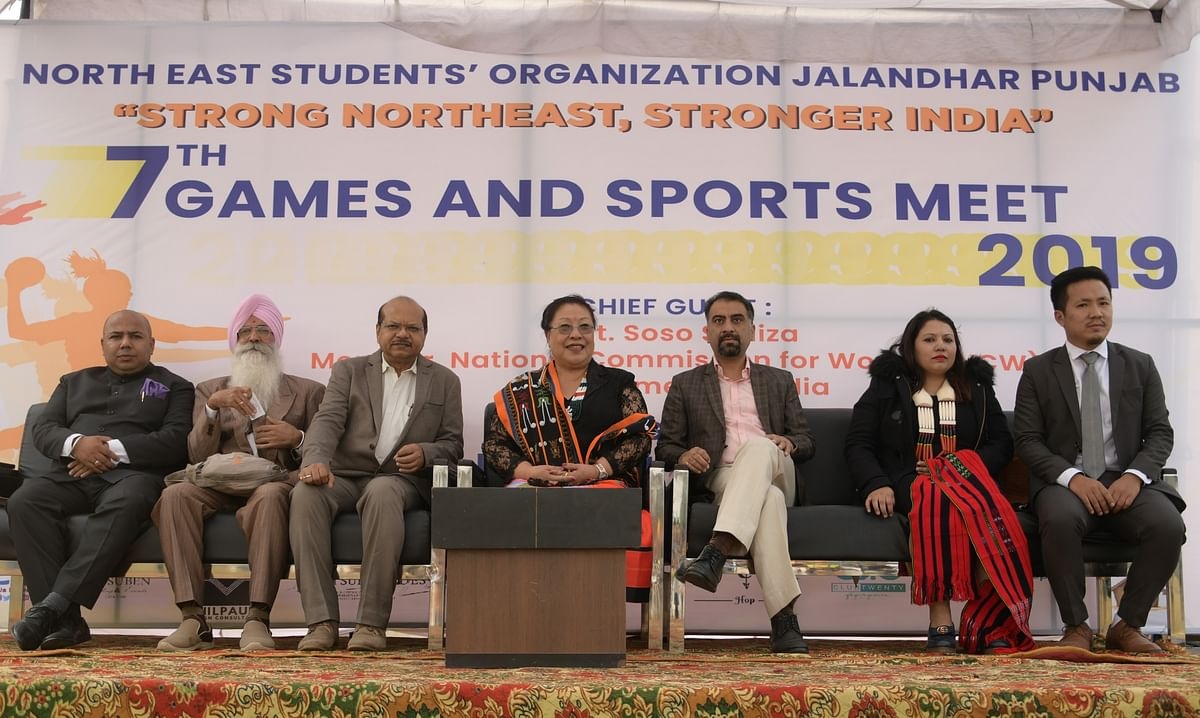 The dignitaries who attended the closing ceremony of the 7th Games and Sports Meet of the North East Students' Organization Jalandhar