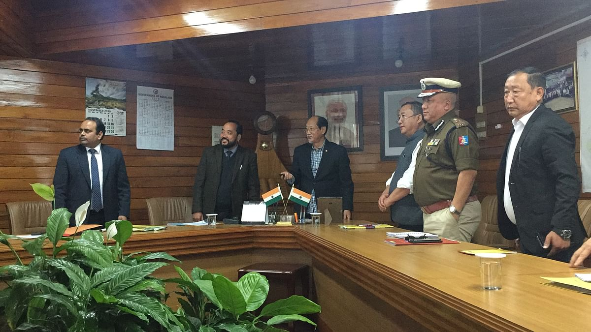Chief minister Neiphiu Rio, deputy chief minister Y Patton and other dignitaries launching online ILP registration