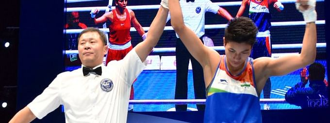 Two-time World Championship bronze medallist boxer Lovlina Borgohai during the women's boxing trials of Olympic qualifiers on Friday