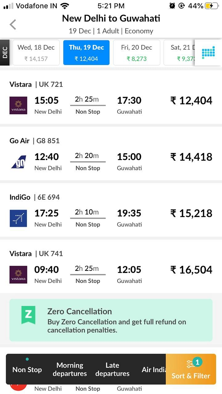 Airfares from New Delhi to Guwahati as seen on a popular flight-booking website