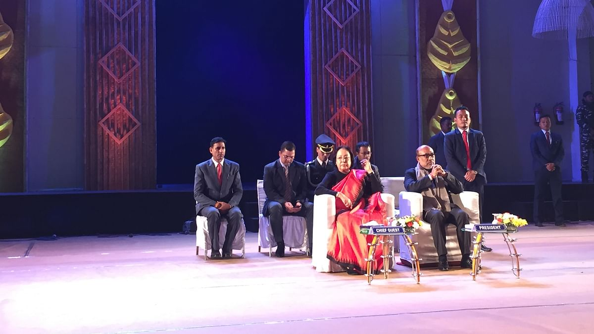 Manipur governor Najma Heptulla graced the closing ceremony of the 10th Sangai Festival in Imphal on Monday