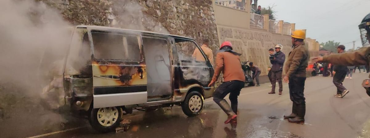 A car was burnt down miscreants in Jaiaw area of Shillong, Meghalaya on Thursday