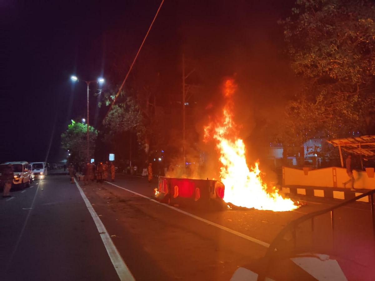 Several vehicles were also burnt by the protesters in front of the Secretariat in Guwahati, Assam on Wednesday evening