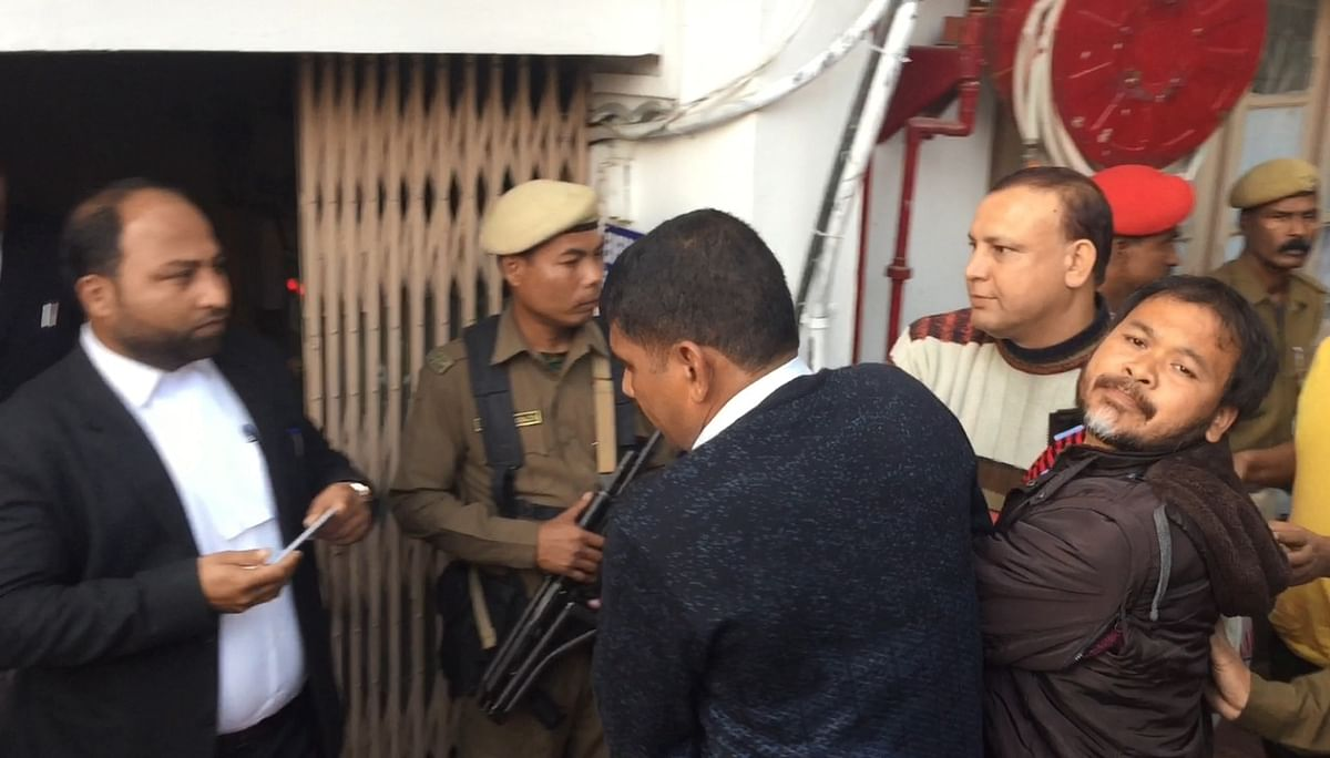 KMSS leader Akhil Gogoi was produced at a NIA court in Guwahati on Thursday
