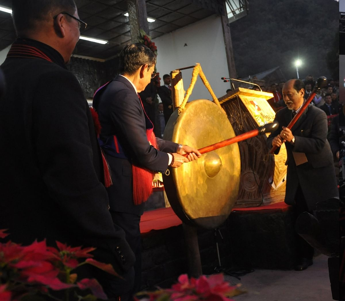The festival was declared open following the hitting of traditional gongs by Nagaland governor RN Ravi and chief minister Neiphiu Rio