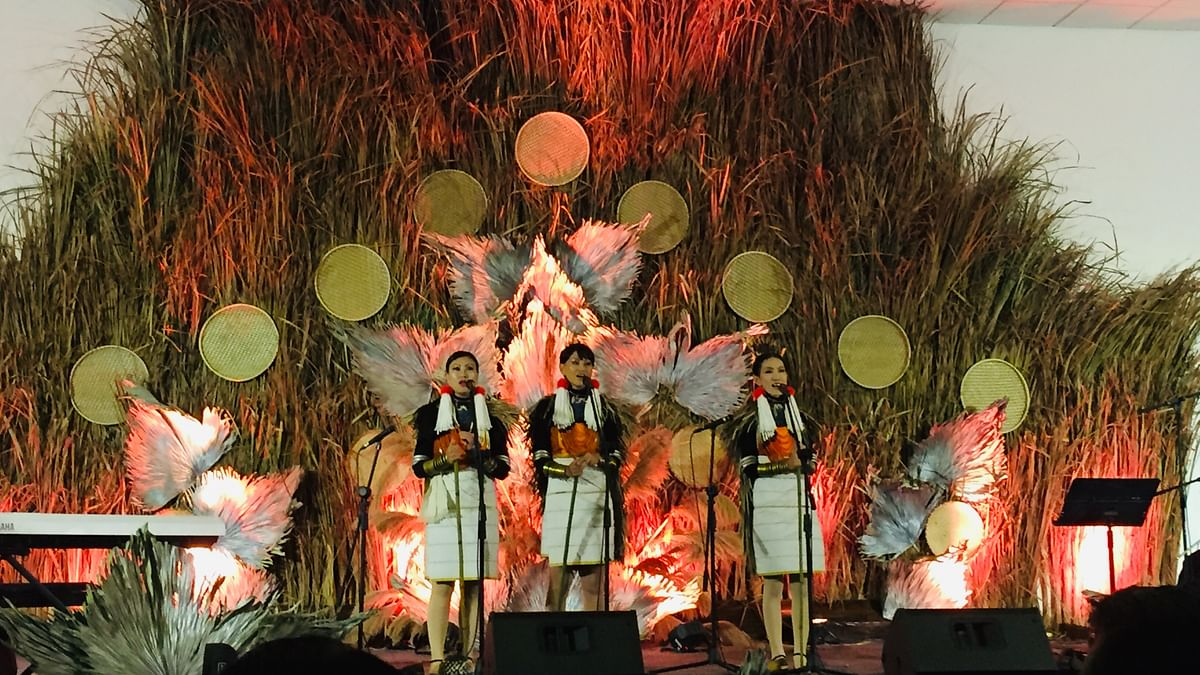 Tetseo Sisters performing at the first Box Office Show at Hornbill Festival in Kisama, Nagaland