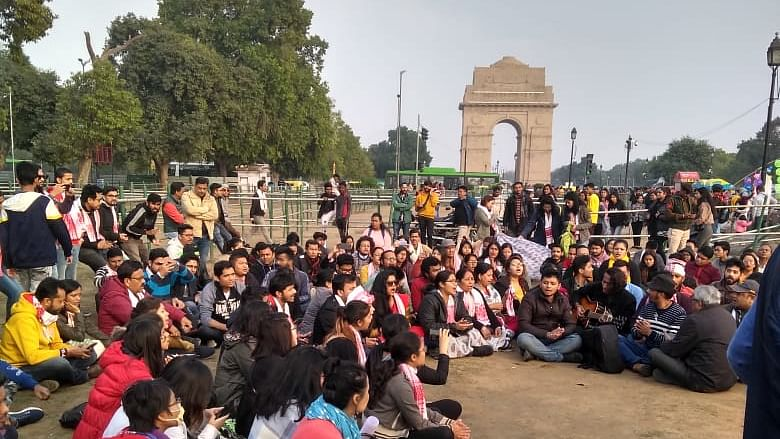 Delhi-NCR's Assamese people stage protest against CAA at India Gate lawns, New Delhi