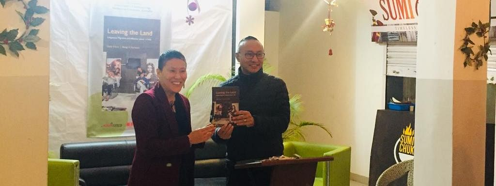 Anthropologist Dolly Kikon (left) during the official launch of her book in Kohima