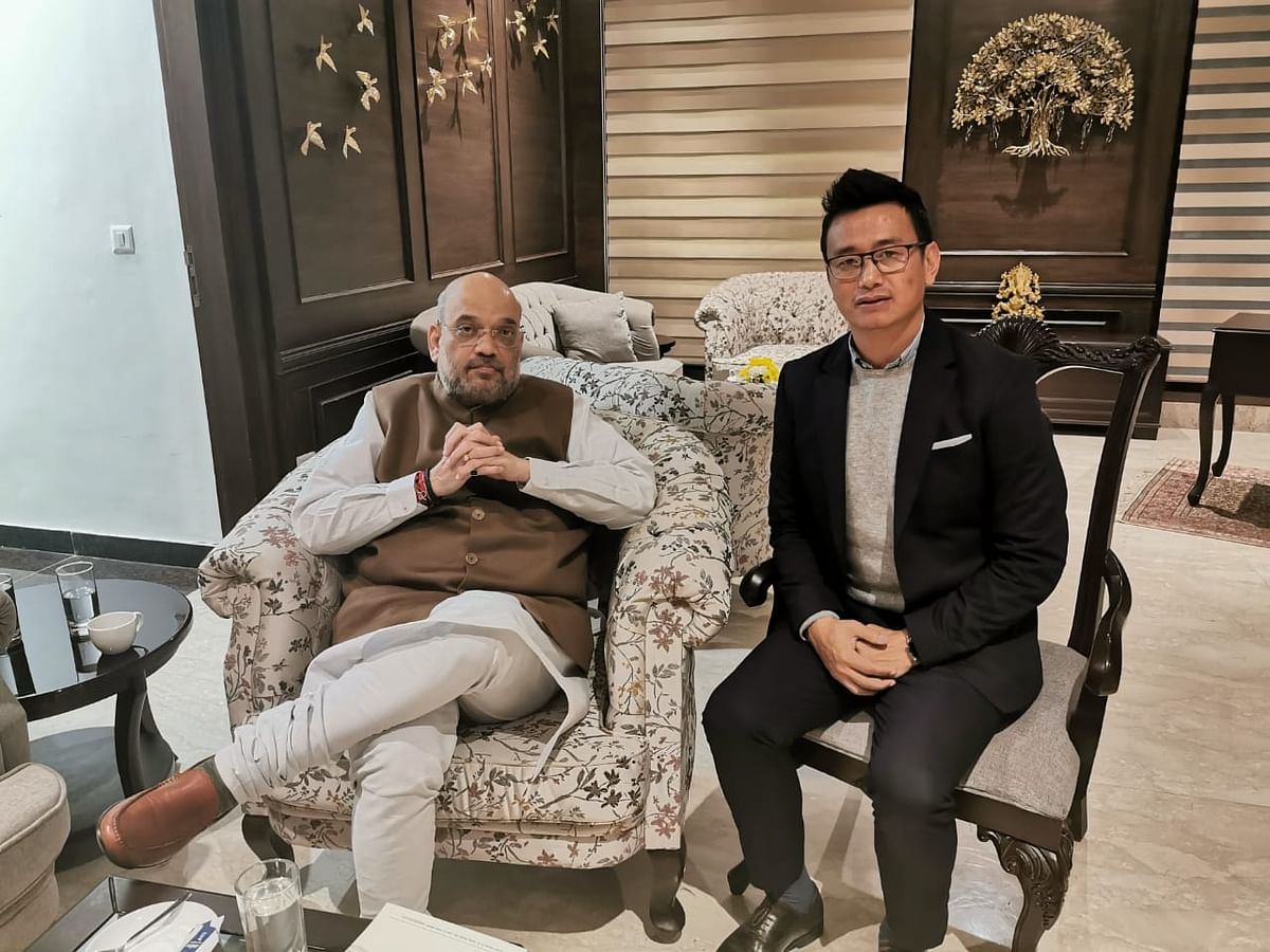 Hamro Sikkim leader Bhaichung Bhutia meets home minister Amit Shah in New Delhi on Saturday.