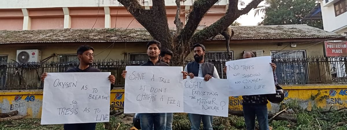 Protesters holding placards in Agartala
