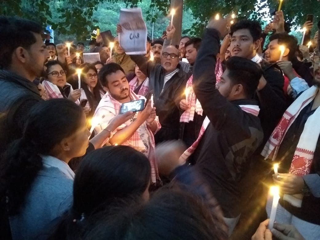 Candlelight march against CAA by Assamese community in New Delhi