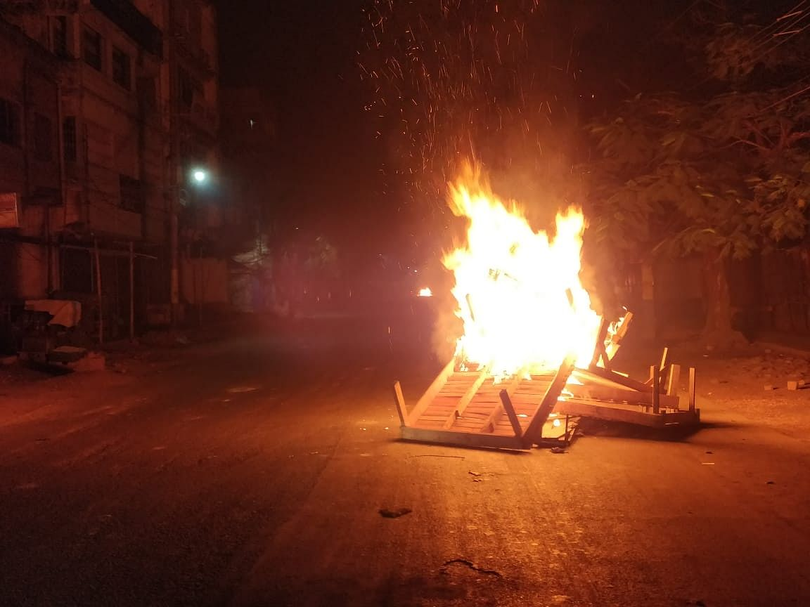 Protestors burn tyres and woods at several roads in Tinsukia