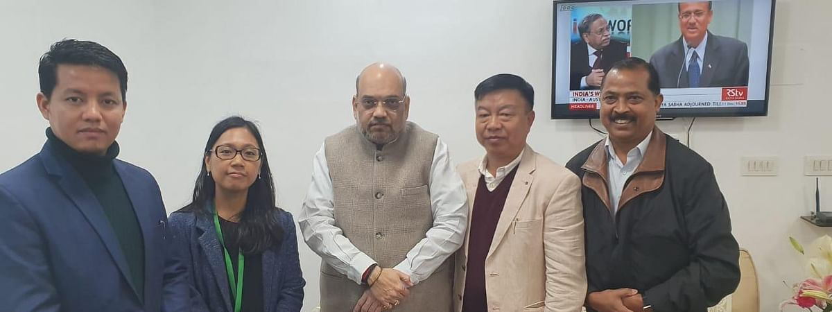Tura MP Agatha Sangma (second from left) and other MPs from Northeast with Union home minister Amit Shah (middle)