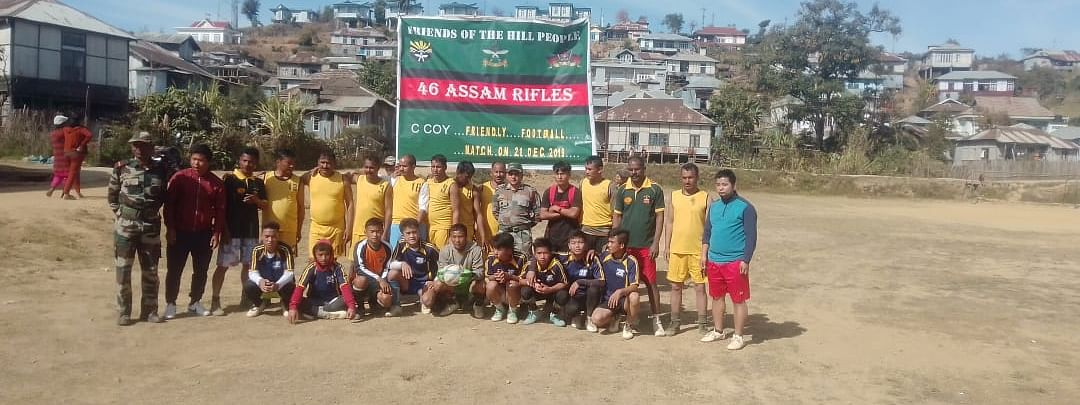 The friendly football match  was played between Hnahlan High School and troops of  Assam Rifles