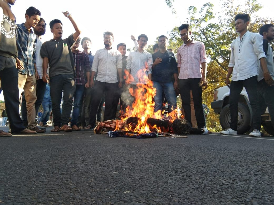 Members of KMSS and other organisations taking part in a mass sit-in demonstration against CAB in Guwahati on Thursday