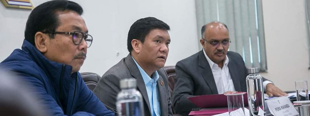 Arunachal Pradesh CM Pema Khandu taking part in a Cabinet meeting in Itanagar on Friday