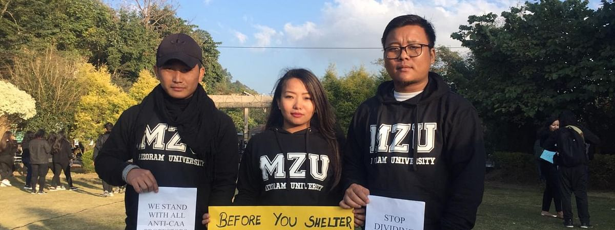Students of Mizoram University in Aizawl protesting against the Citizenship (Amendment) Act
