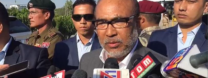 Manipur CM N Biren singh addressing the media upon his arrival from New Delhi at Imphal Airport