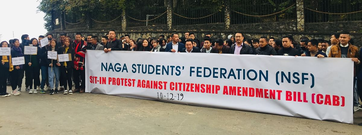 Naga Students' Federation held a peaceful sit-in protest against CAB in Kohima on Tuesday