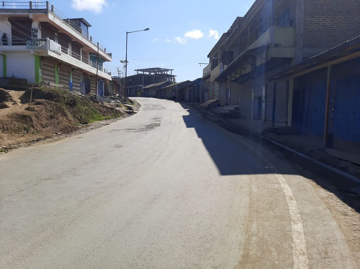 A street in Ukhrul, Manipur look deserted following total six-hour shutdown against CAB on Saturday