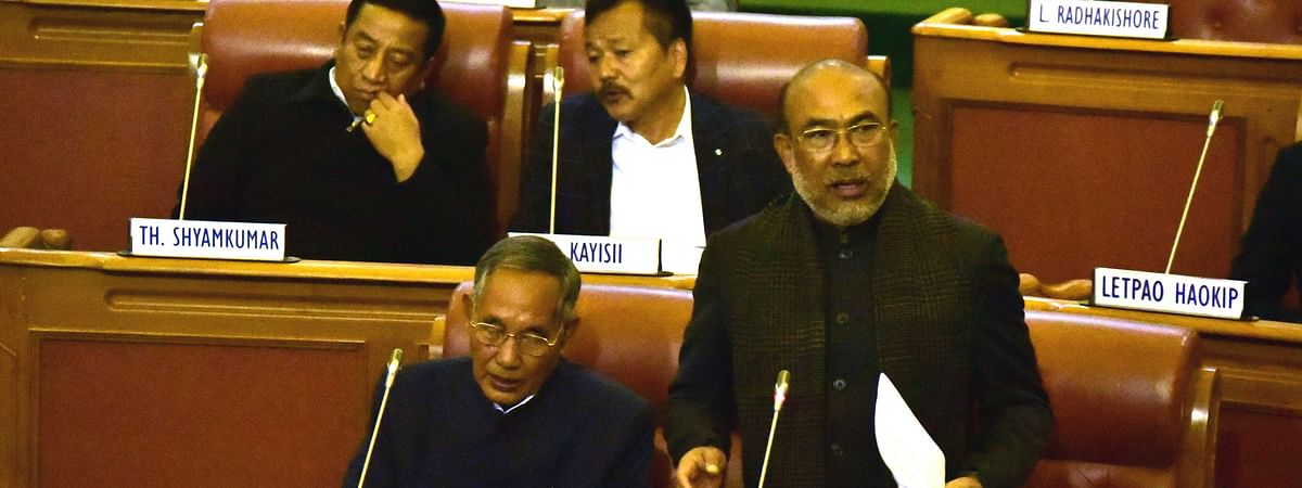 CM N Biren Singh addressing the ongoing winter session of the 11th Manipur Legislative Assembly in Imphal on Wednesday