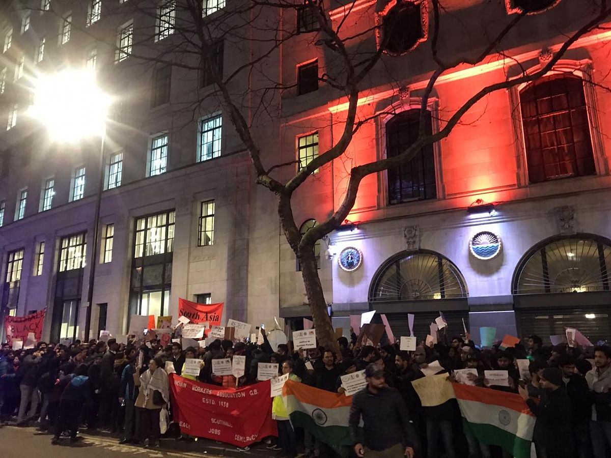 People protested in West London's Southall district