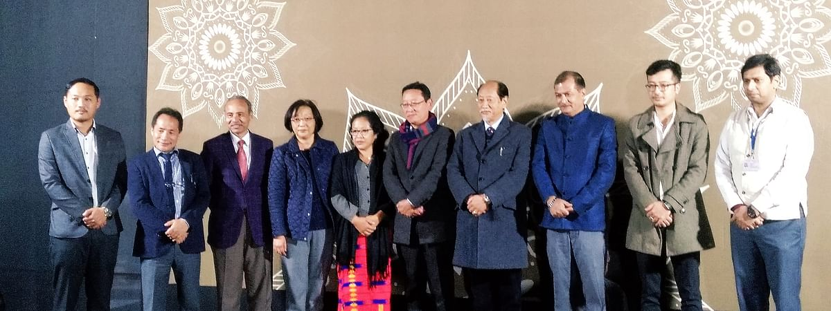 Nagaland chief minister Neiphiu Rio along with the family members of Late Natwar Thakkar,  among others, during the inauguration of the multi-media exhibition  at Hornbill Festival in Kisama