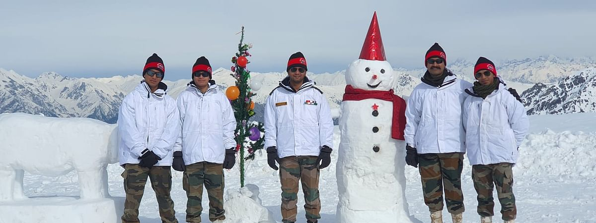 Indian Army jawans celebrating Christmas at Siachen Glacier on Wednesday