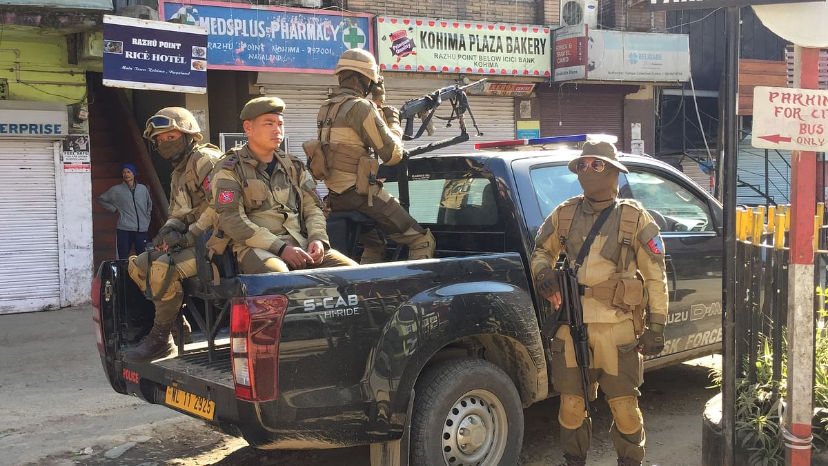 A team of the Special Task Force on duty at Razhu point, Kohima during the six hour bandh called by Naga Students' Federation