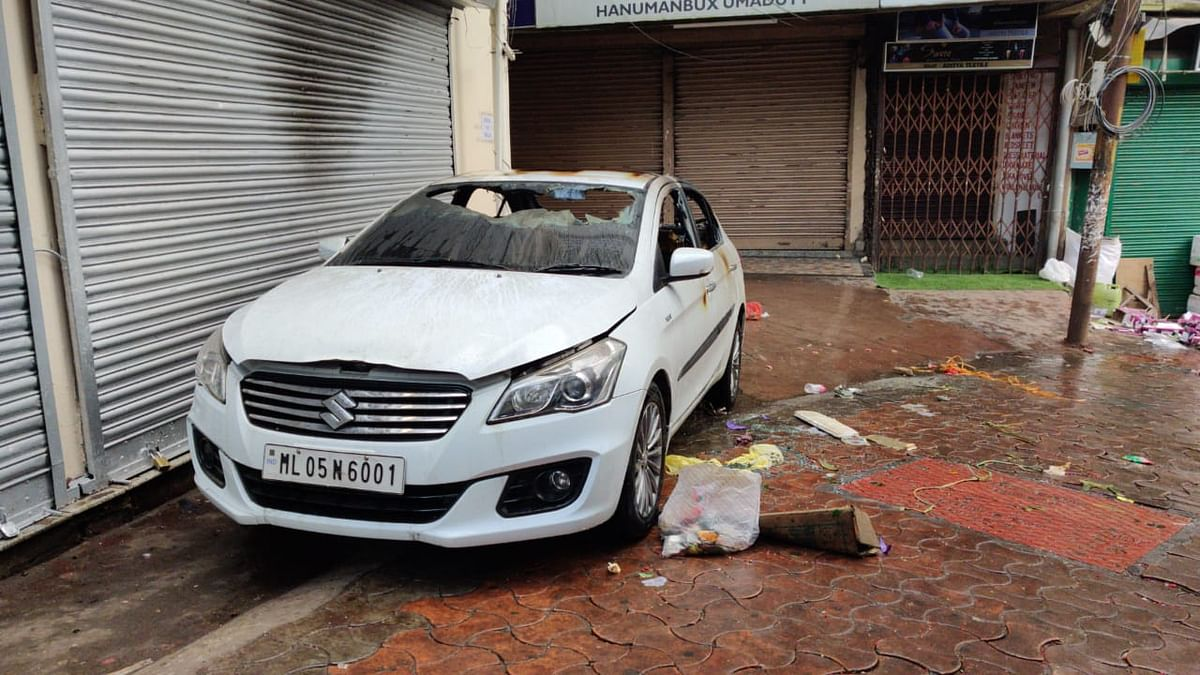 A car was burnt down by miscreants in Police Bazar, Shillong on Thursday