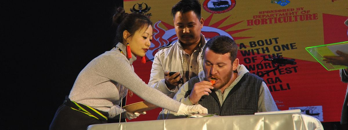 Nathan from Australia, who won in the 'tourist' category of Naga chilli-eating competition at Hornbill Festival 2019. He ate four king chillies in 20 seconds