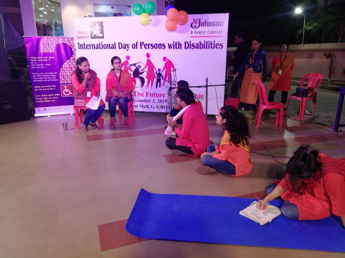 Staff members of Shishu Sarothi performing a street play to promote inclusion