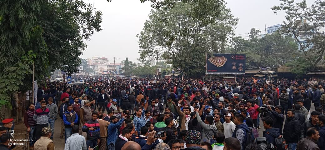 Thousands gather in front of DC office in Assam's Jorhat district on Wednesday morning