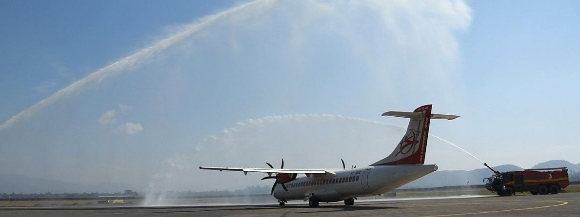The Alliance Air aircraft being given the water canon salute on its inaugural flight from Imphal to Dimapur on Saturday