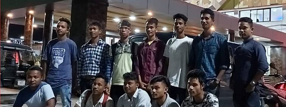 A few of the trained youths leaving for jobs in Guwahati