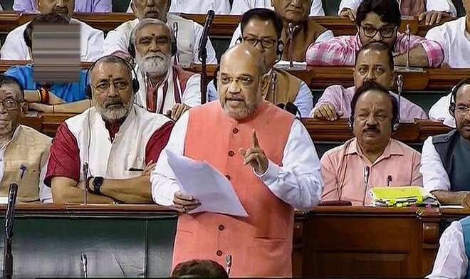 Union home minister Amit Shah in Parliament