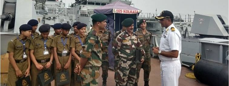 Cadets of Sainik School Chhingchhip visiting the naval dock in Mumbai