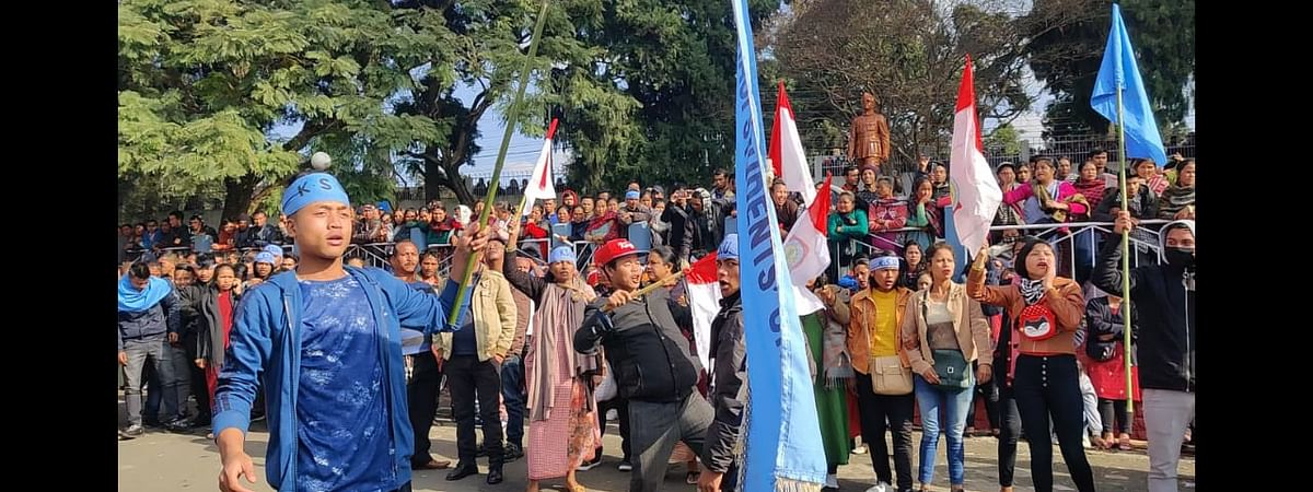 People of Shillong celebrate the  passage of ILP resolution on Thursday.