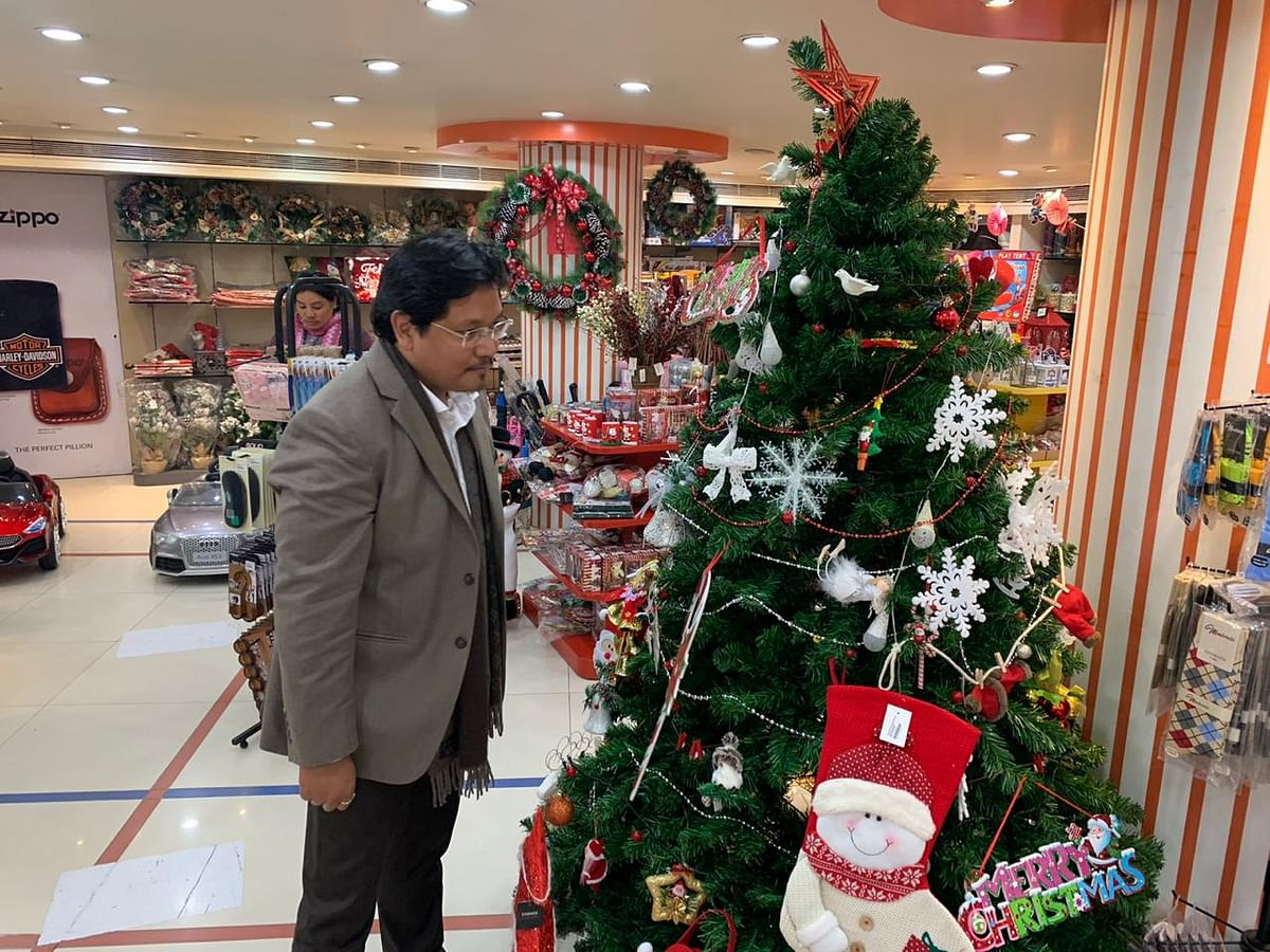 Meghalaya CM Conrad Sangma checking out Christmas decorations