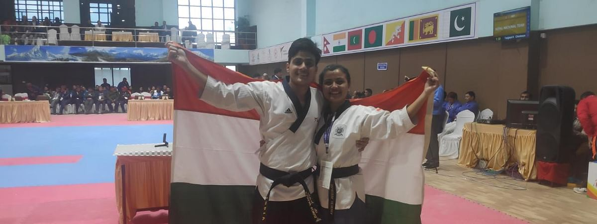 Harsha Singh (right) and Gaurav Singh during the 13th South Asian Games 2019 being held in Nepal
