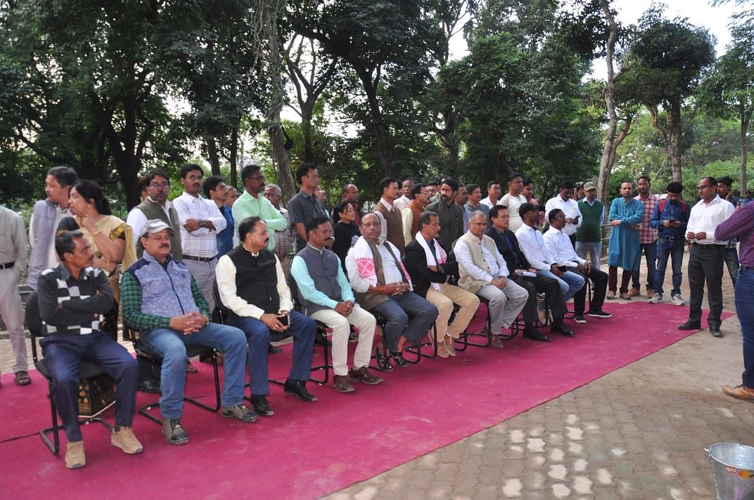 Forest minister Parimal Suklabaidya with other dignitaries in the Assam state zoo-cum-botanical garden on Friday